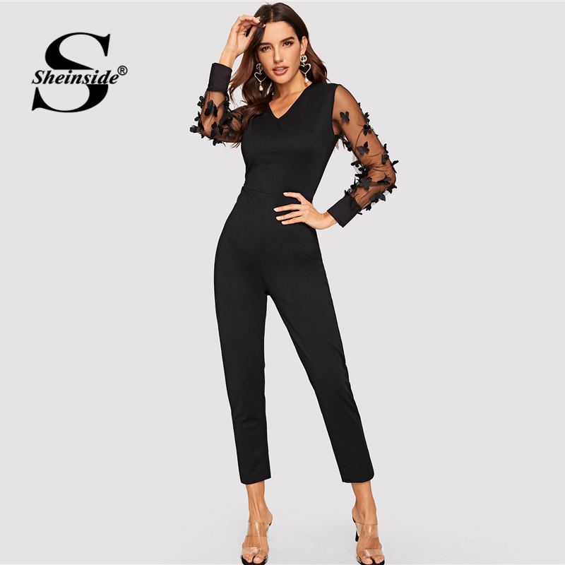 Sheinside Elegant Butterfly Applique Mesh Puff Sleeve   Jumpsuit   Women 2019 V Neck Stretchy   Jumpsuits   Black Skinny Maxi   Jumpsuit
