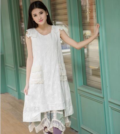 Robe longo coton zomer jurken blanc dentelle volants renda vintage kleid jurk robe longue moda mujer 2016 femmes robe d'été