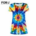 FORUDESIGNS Supreme 3D Colorful Print Women Dress Ukraine Style Vestidos 2017 New Arrival Short Dresses for Ladies Beauty Dress
