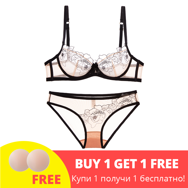 Shaonvmeiwu Ultra-thin gauze sexy embroidery lace   bra   lingerie suit comfortable perspective breathable small chest women's   bra