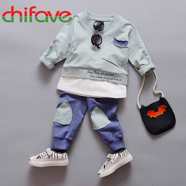 2016 New Autumn Spring Boys Children Fashion Sets Clothing Long Sleeve Letter O-neck Pullover Sweater+pants Boys Suit Sets