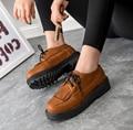 Модная кисточкой весна осень восстановление древних путей женщины кожаные ботинки круглая голова туфли На Платформе женщина плоским Оксфорд обувь