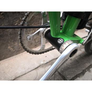 3-kolor składany rower naklejka ze stopu aluminium pięć-drogę do rower brompton naklejki samoprzylepne metalowa naklejka ochrony tanie i dobre opinie Aluminum alloy black silver Sticker + adhesive