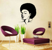 New Arrival Salon Vinyl Wall Decal  African Woman Style Natural Hair Soul Jazz Girl Wall Sticker Salon  Hair Shop Decoration