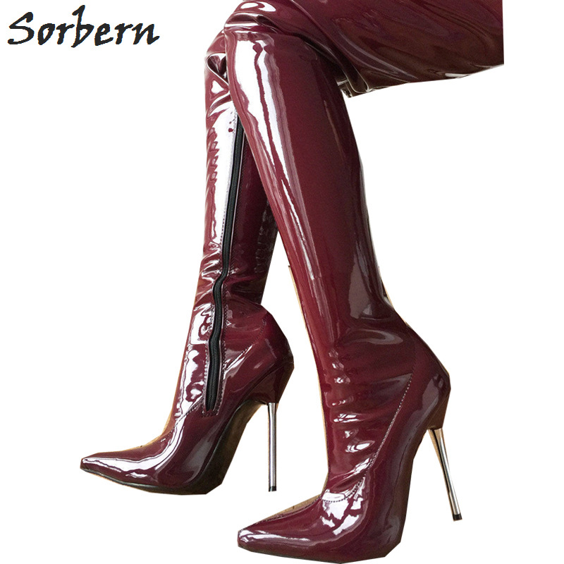 Sorbern Lethal 12cm Silver Metal Heel 80cm Crotch Show Boot Patent Burgundy Thigh High Boots Women Pointed Toe New 2018