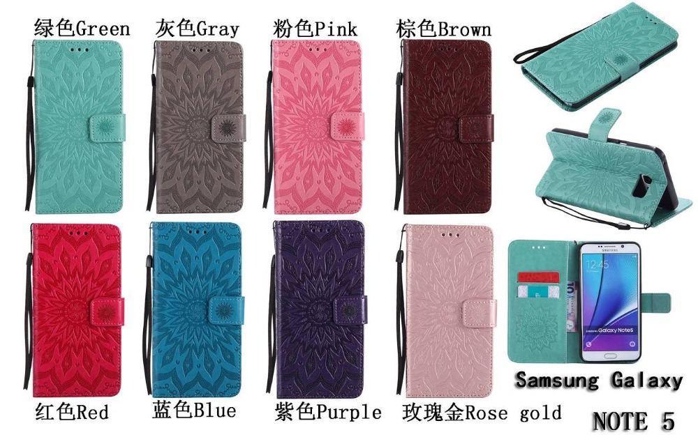 Sun Flower Embossed Flip PU Leather Case For Samsung galaxy Note3 Note4 Note5 Wallet Cover With Card Slot Phone cases