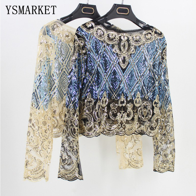 Bling Sheer Body Crop Top Blusas Feminina Lace Mesh Long Sleeve Floral  Embroidery Sequin Beading Women 14fd6d914926