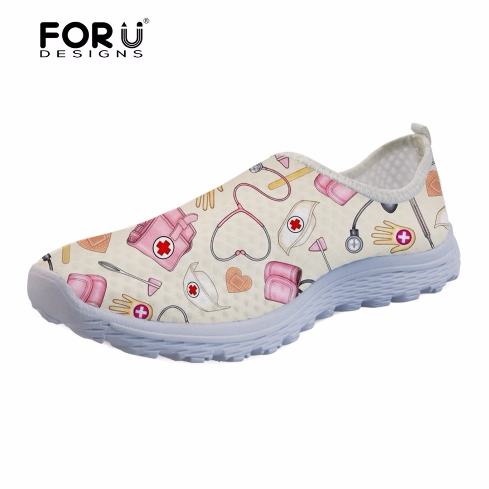 FORUDESIGNS 2018 HOT SALE NURSES Women Shoes Flats Summer Breathable Comfortable Sneakers Woman Laides Loafers Casual Beach Lazy forudesigns musical note women sneakers flats fashion girls casual beach light loafers female summer slip on shoes woman walking