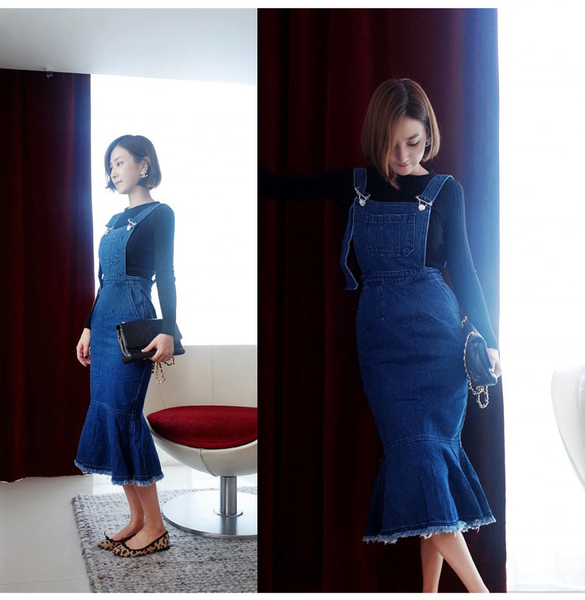 f4ced65ce5d Women Denim Dress 2018 Autumn Korean Style Vintage Bodycon Strap Mermaid Blue  Jeans Dress Casual Long Dress Overalls 1212-in Dresses from Women s  Clothing ...