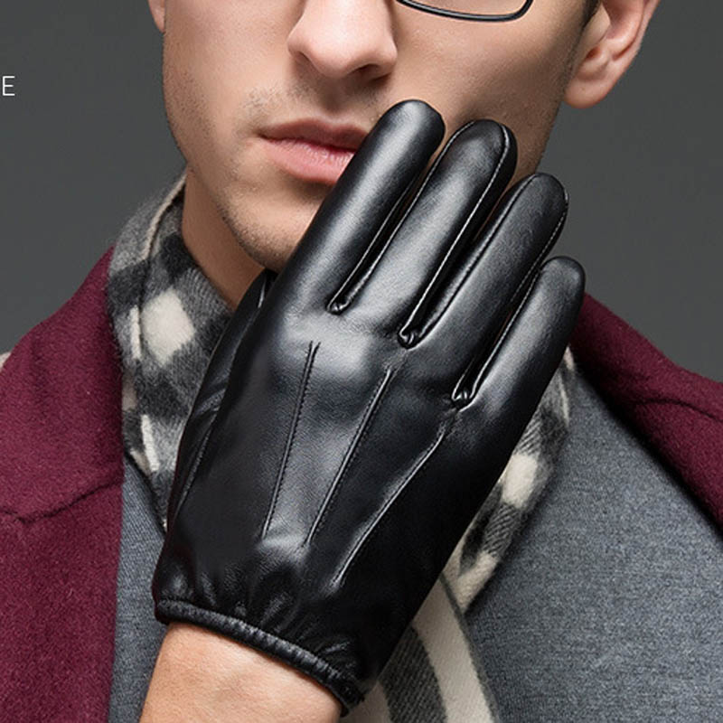 Autumn Winter Men Outdoor Gloves PU Leather Thin Touches Screen Keep Warm Police Search Driver Man Full Finger Glove