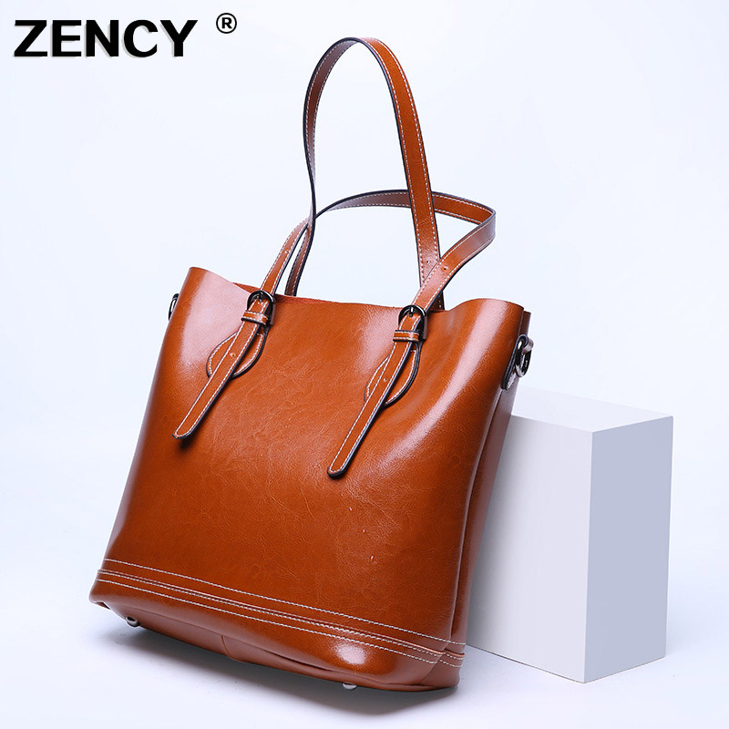 ZENCY Classic Large Genuine Oil Wax Cow Leather Vintage Women's Bucket Handbag Shoulder Cowhide Shopping Handle Bags Satchel