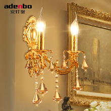 Free Shipping Europe Gold Alloy LED Crystal Sconce Lamp Indoor Wall Lamps With 1 Lights 2 Lights For Bedroom Lighting (962-1-2)
