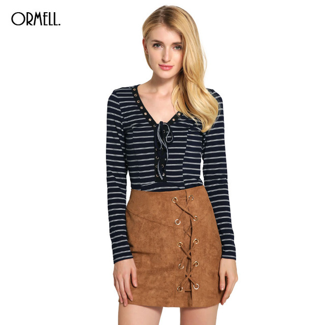 11.11 Promotion ORMELL Womens Fashion Sexy Romper Striped Lace Up Long Sleeve V Neck Girls Jumpsuits for Wholesale