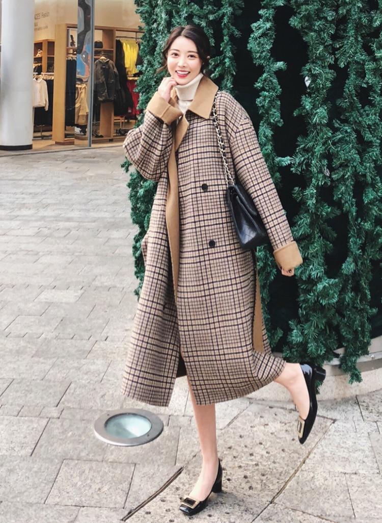 Automne Longue Laine Mode À Femmes Khaki Angleterre Lâche Manteau Carreaux 2018 Pardessus De Vente Style Chaude Nouvelles B585 breasted Hiver Mince Double rzFwngxCqr