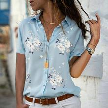Summer Chiffon Tops Women Plus Size Shirt Loose Print Button V-neck Short Sleeve Blouse Pullover Blusa