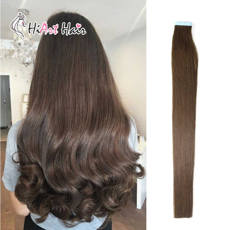 "HiArt 2.5g/pc Tape Hair Extensions In Human Remy Hair Extension Salon Natural Brown Hair Extension Double Drawn 18""20""22"""