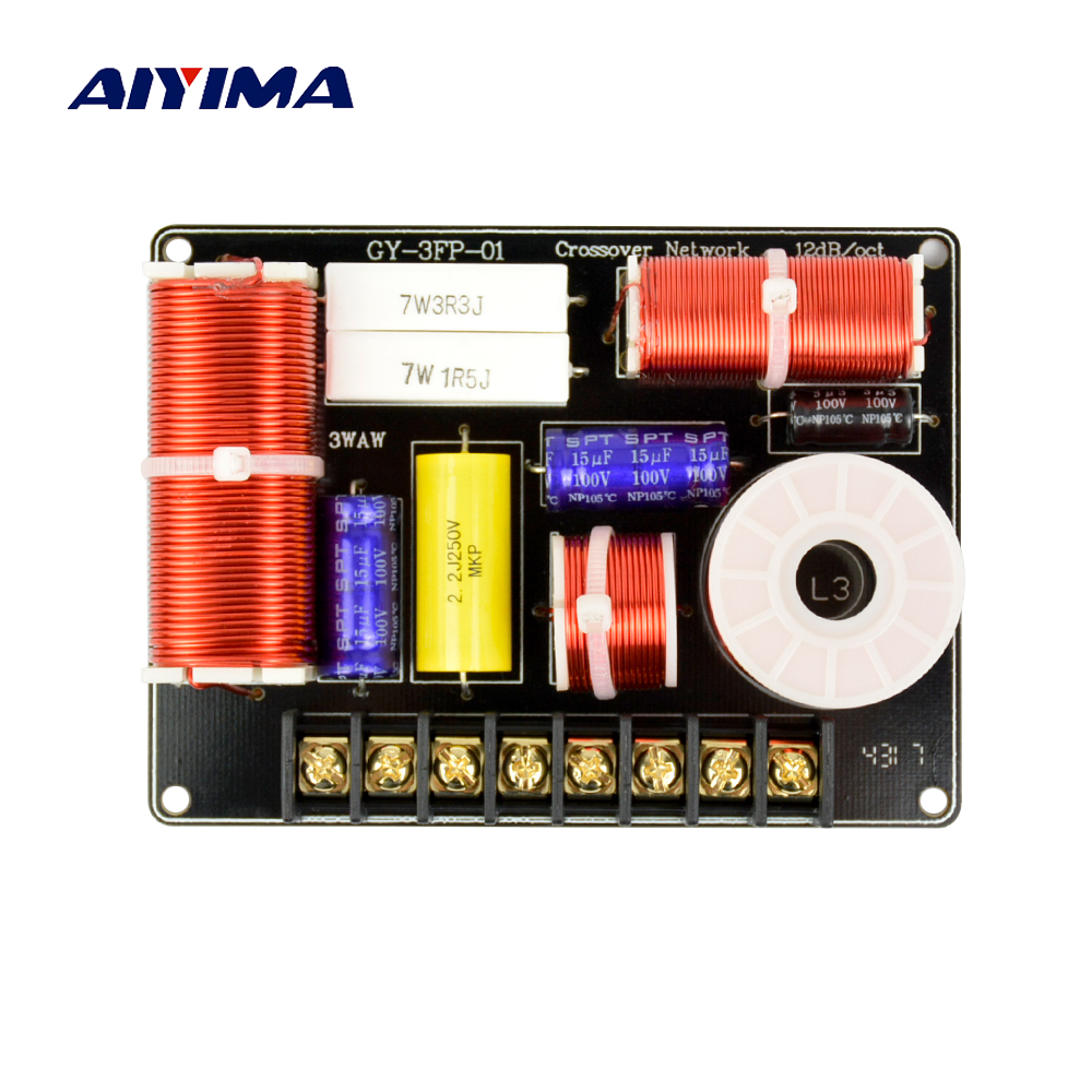 Aiyima 1PC Speaker 3 Way Audio Frequency Divider HiFi Treble Midrange Bass 3 Unit Crossover Filters 200W Nibbler