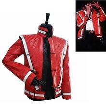 Классический Панк Новинка редкий крутой мужской красный MJ Майкл Джексон, Thriller открытый стежок вокальный концертный кожаный модный пиджак верхняя одежда
