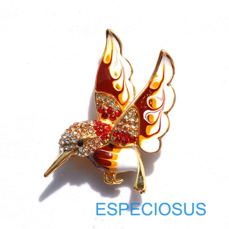 Элегантная булавка золотого цвета, Женская Брошь, стразы, подарки, мультфильм, жужжащая птица, нагрудная булавка, аксессуары, ювелирные изделия, четыре цвета, окрашенные - Окраска металла: red