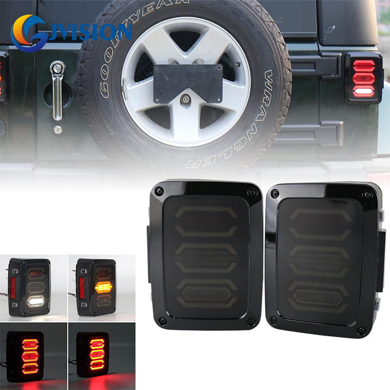 Free Shipping for 2 x Jeep Wrangler JK 07-16 LED Tail Lights Rear Brake Reverse Lamps for USA & European Version ноутбук hp 15 bs012ur 1zj78ea 1zj78ea