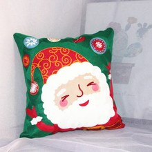 1PC 4545cm Size Christmas Square Cushion Cover Embroidery Santa Claus Case Decorative