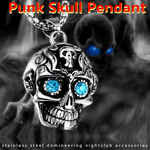 лучшая цена KLDY Men skull pendant necklace 316L stainless steel punk Biker skeleton red blue green eyes necklace skull Jewelry wholesale