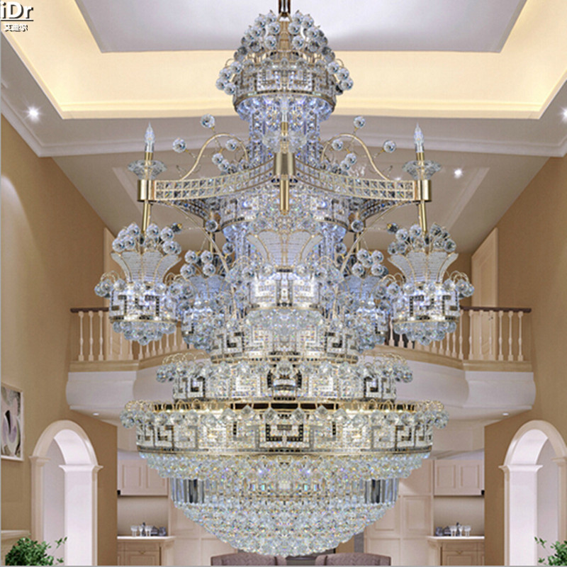 Moderne Goldene Treppen Licht Lange Lichter Villa Duplex Kristall Lampe Wohnzimmer Scheinwerfer Kronleuchter Lmy