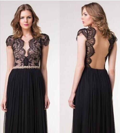 2016 Autumn Dress font b Fashion b font Lace Backless V Neck New Arrival Longuette Vestido