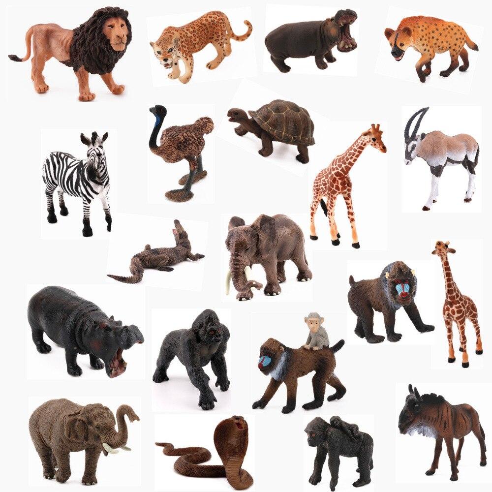 REikirc 20PCS/Set African Animals Zebra Bighorn Horse Orangutan Hippo Giraffe Elephant Snake Model Toy For Chidren Gift