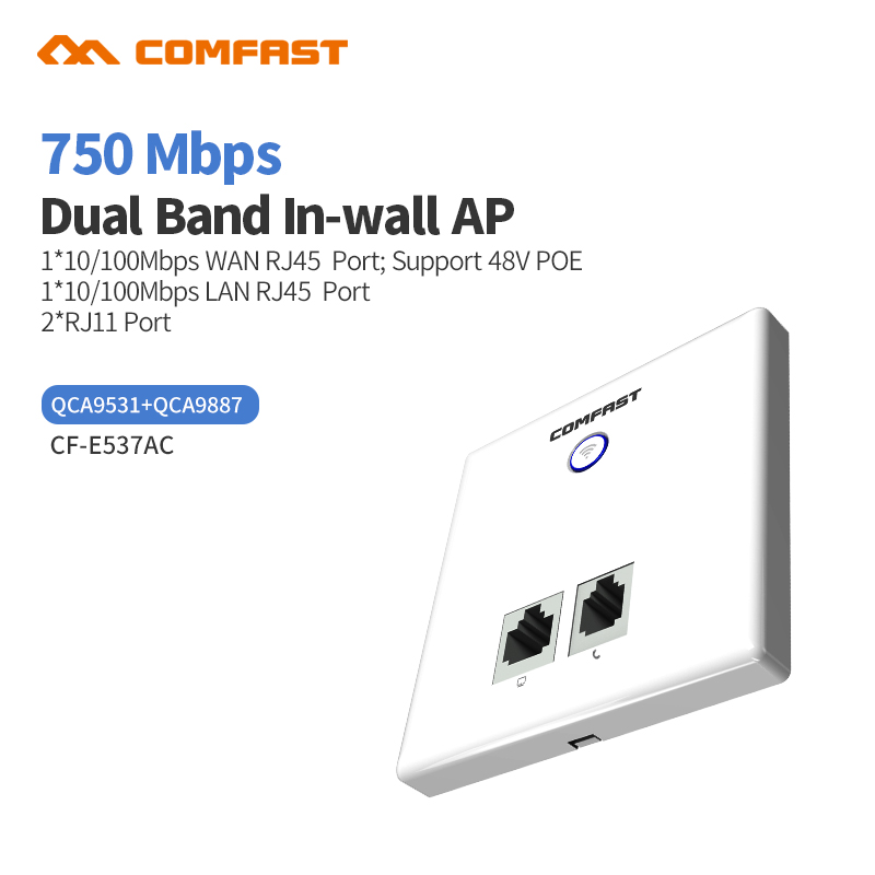 COMFAST Wireless AP CF-E537AC 750Mbps In Wall AP 802.11AC 2.4+5.8G RJ45 RJ11 Hotel Wifi Project AP Support AC Management WiFi AP