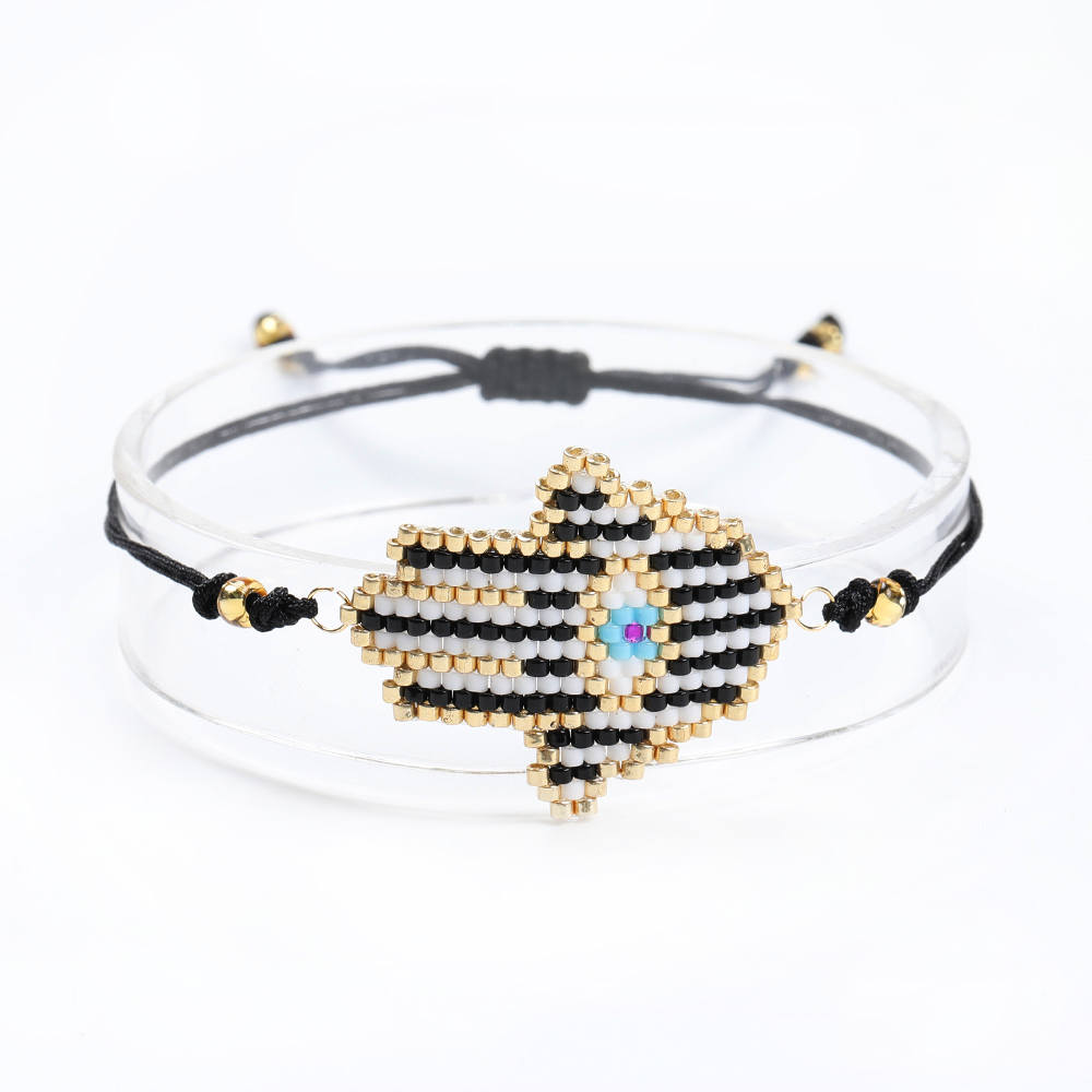 Go2boho Dropshipping MIYUKI Black Hamsa Hand Bracelet Evil Eye Bracelets Delica Seed Beads Handmade Woven Jewelry Women Gifts in Charm Bracelets from Jewelry Accessories