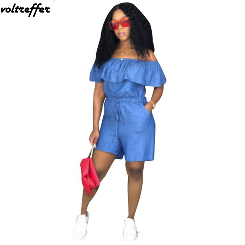 Denim Jumpsuit Off Shoulder Ruffles Playsuits For Women Sexy One Piece Outfits Shorts Pinup Backless Bodysuit Casual Summer 2018