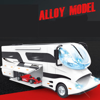 For Clarney Alloy RV Model with Sound Light Function Moving House Truck Car Model Diecast Speelgoed Auto Mobile Toy for Children