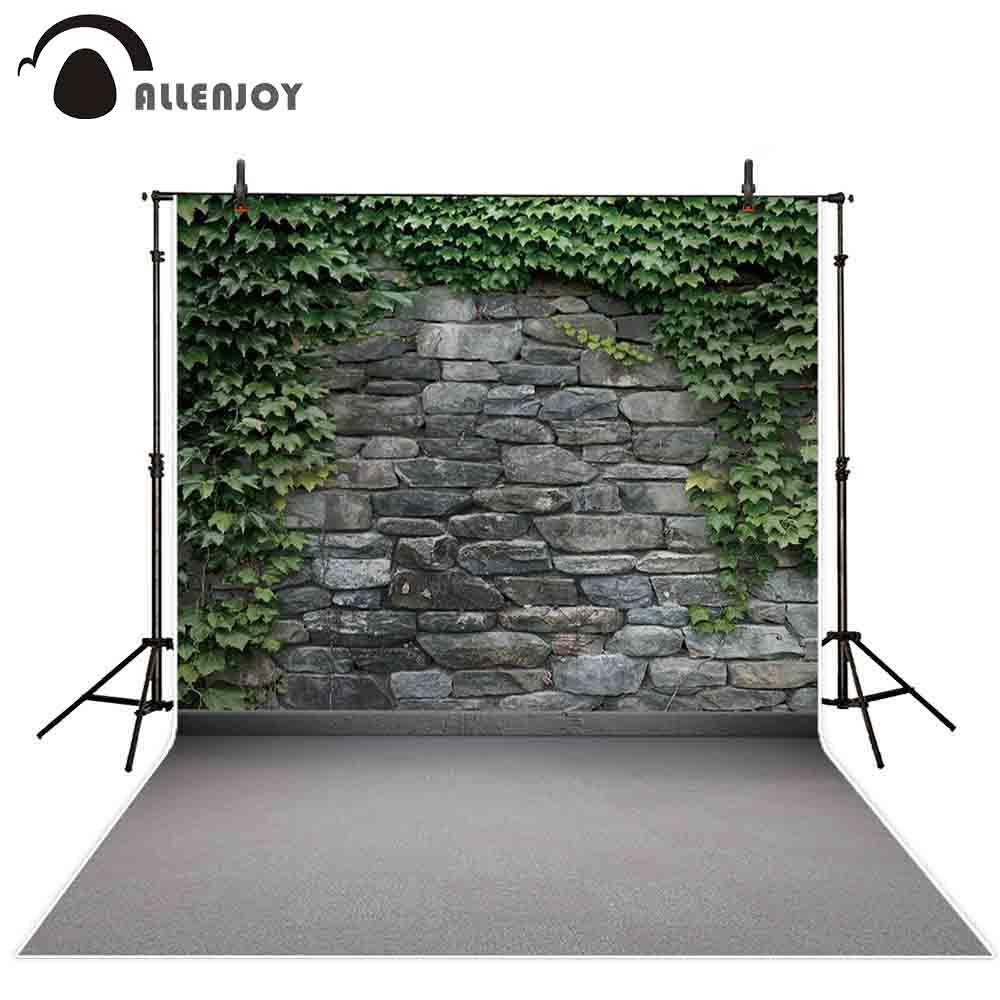 Allenjoy Stone Wall Photography Backdrop Spring Green Leaf Garden