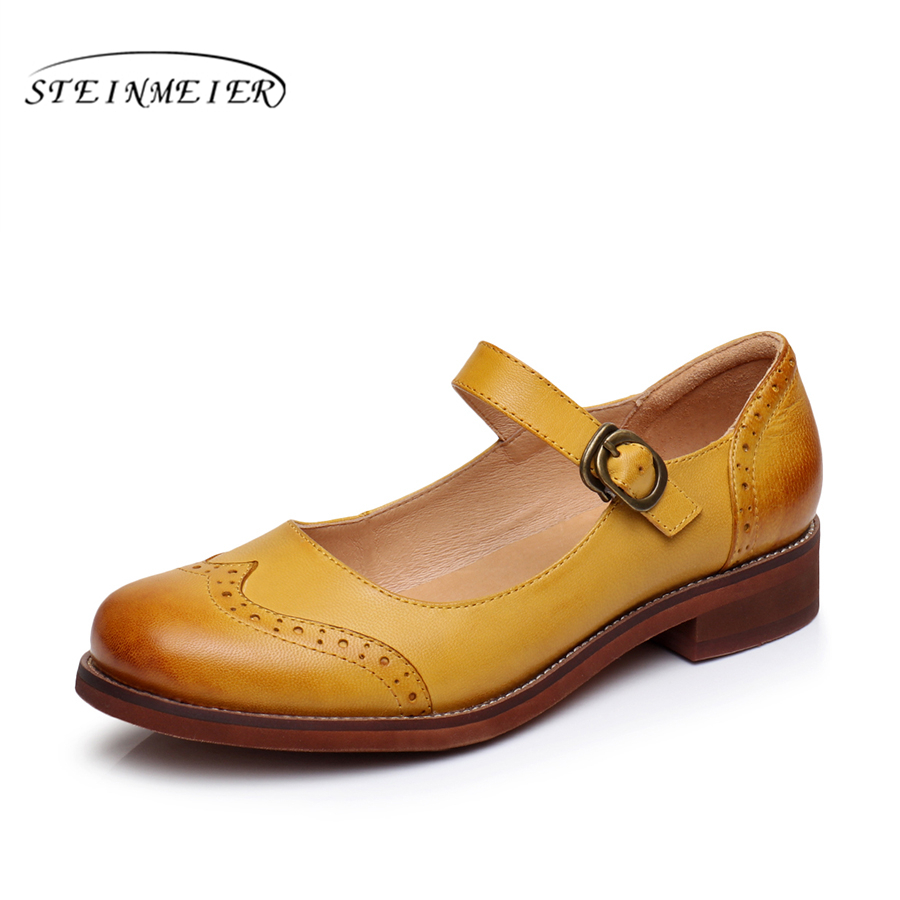 Genuine sheepskin leather brogues yinzo lady flats Sandals shoes vintage buckle handmade yellow red blue oxford