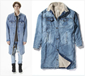 Top Version Long Style Fear Of God Vintage Wind Coat Winter Quality Zipped Sleeve Hairy Liner Indigo Denim Jackets