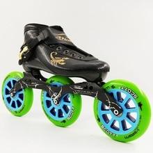 Speed Skates Professional Roller Skating Shoes 125 Big Round 3 Wheels Inline Skate Women Men Boots Black Kids/Adult Skate Shoes
