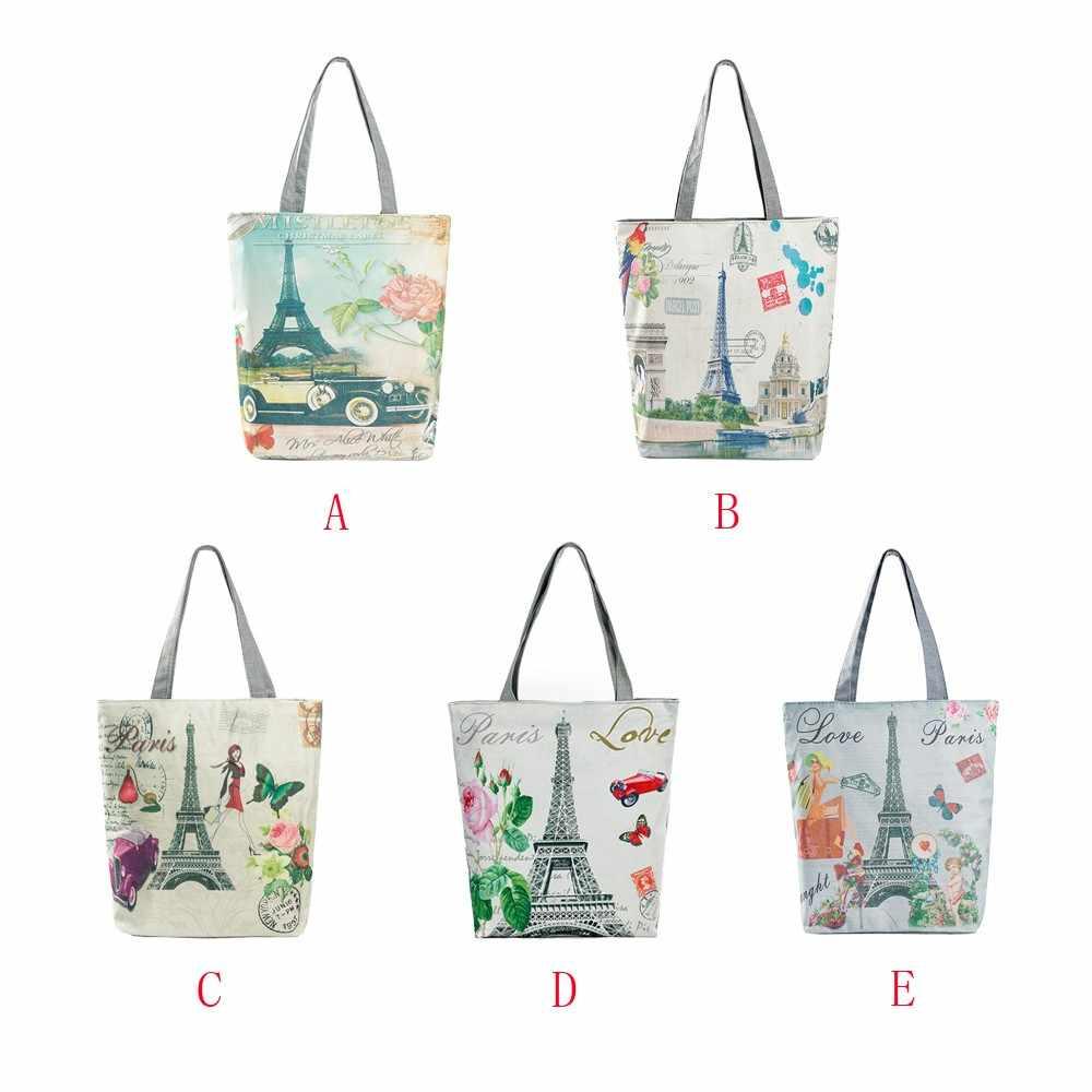 7a1747a460ee9 ... Fashion Female Canvas Beach Bag Cartoon Paris Tower Tote Casual Tote  Women Handbag Daily Use Single