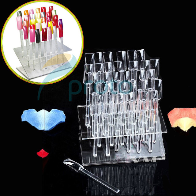 1 Set 32-Hole Clear 32 False Tips Sticks Plastic Acrylic Nail Art Polish Display Stand Rack Holder Practice Tool Displays F0036