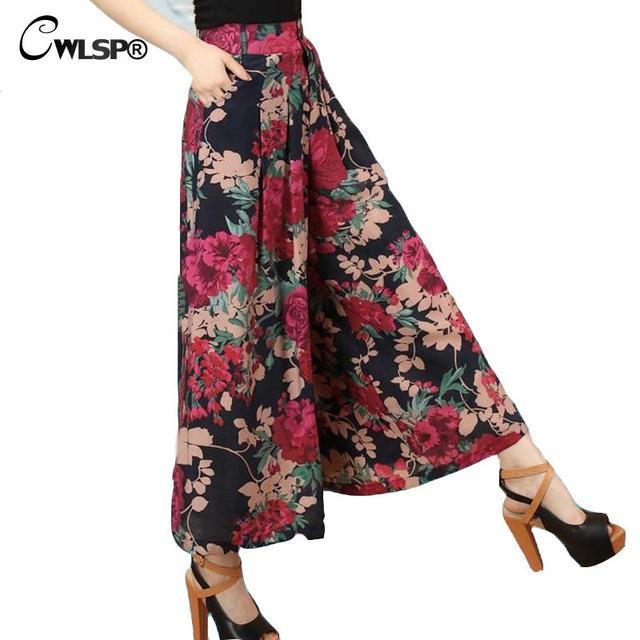 Mujeres Impreso Floral Pantalones Anchos de la pierna 2016 Pantalones Sueltos Pantalones Casuales Pantalones de Cintura Alta Moda de Verano Más El Tamaño 5XL QL978
