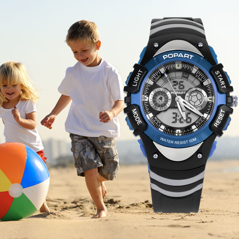 POPART Children Watch Boys Girls Stopwatch Alarm 50M Waterproof Blue Quartz Sport LED Digital Watch For Kids Watches Child Clock