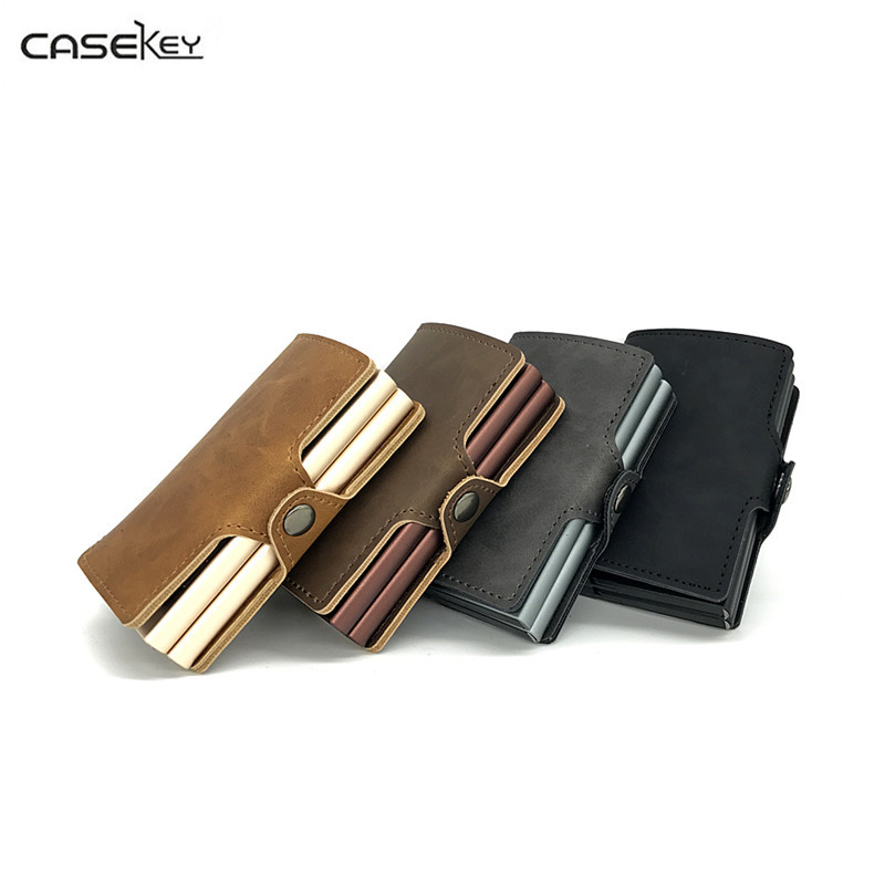 CaseKey 2017 Brand Metal Men Credit Card With RFID Double Card Holder Fashion PU Leather Card Cases Pop Up Automatic Mini Wallet hot sale 2015 harrms famous brand men s leather wallet with credit card holder in dollar price and free shipping