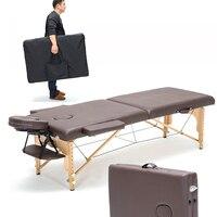 Professional портативный Spa массажные столы Регулируемый с сумкой салон мебель деревянный складной кровать косметический массажный стол