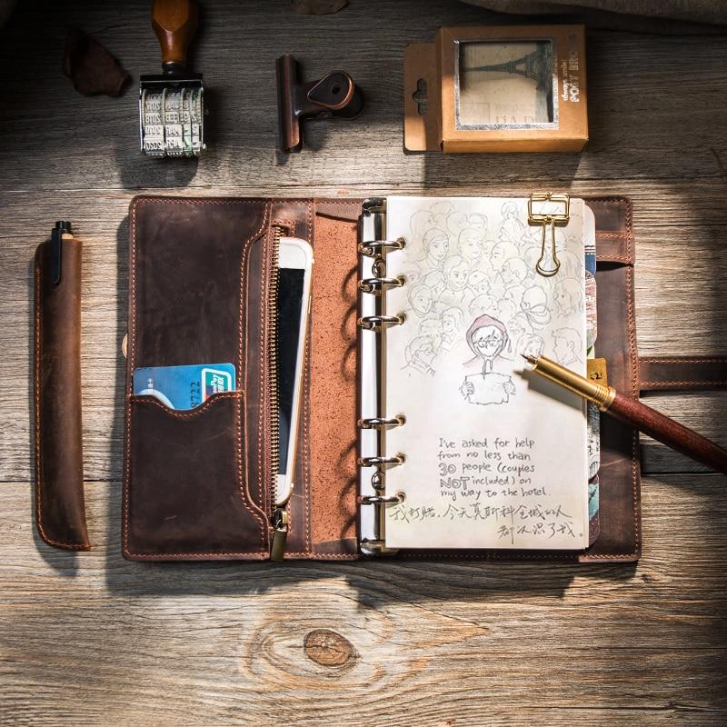 Multifonctionnel Véritable Conception En Cuir Cahier de voyage Voyage Journal journal Cadeau Fait Main bullet Journal planificateur bloc-notes