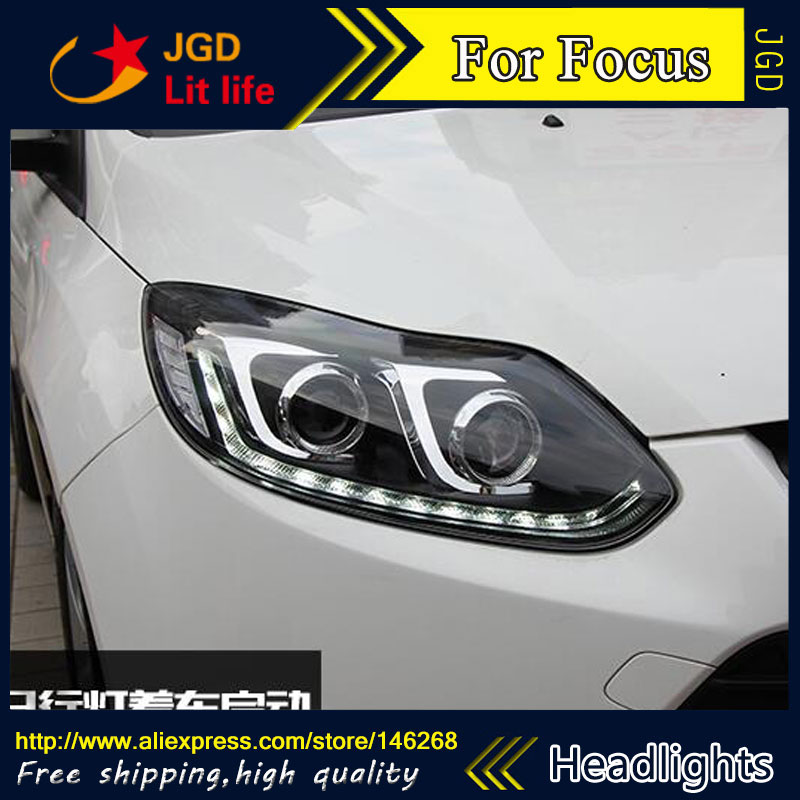 Free shipping ! Car styling LED HID Rio LED headlights Head Lamp case for Ford Focus 2012-2014 Bi-Xenon Lens low beam 1 pcs diy car styling new pu leather free punch with cup holder central armrest cover case for ford 2013 fiesta part accessories