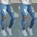 Namorado Buraco Rasgado calças de Brim Das Mulheres Calças Jeans Legais Retas das calças de Brim Para A Menina Do Vintage de Cintura Alta Calça Casual Fêmea Magro calças de Brim