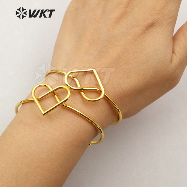 WT B368 Wholesale custom heart brass bracelet anti fading lady gold