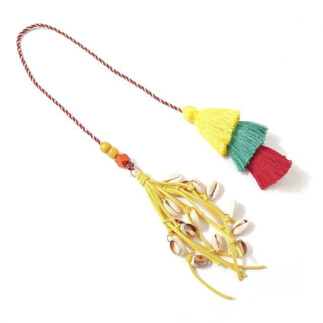 Moda ręcznie robiony pompon brelok Shell Tassel wisiorek pompon breloczki czeski akcesoria dla kobiet torby kolorowe ozdoby