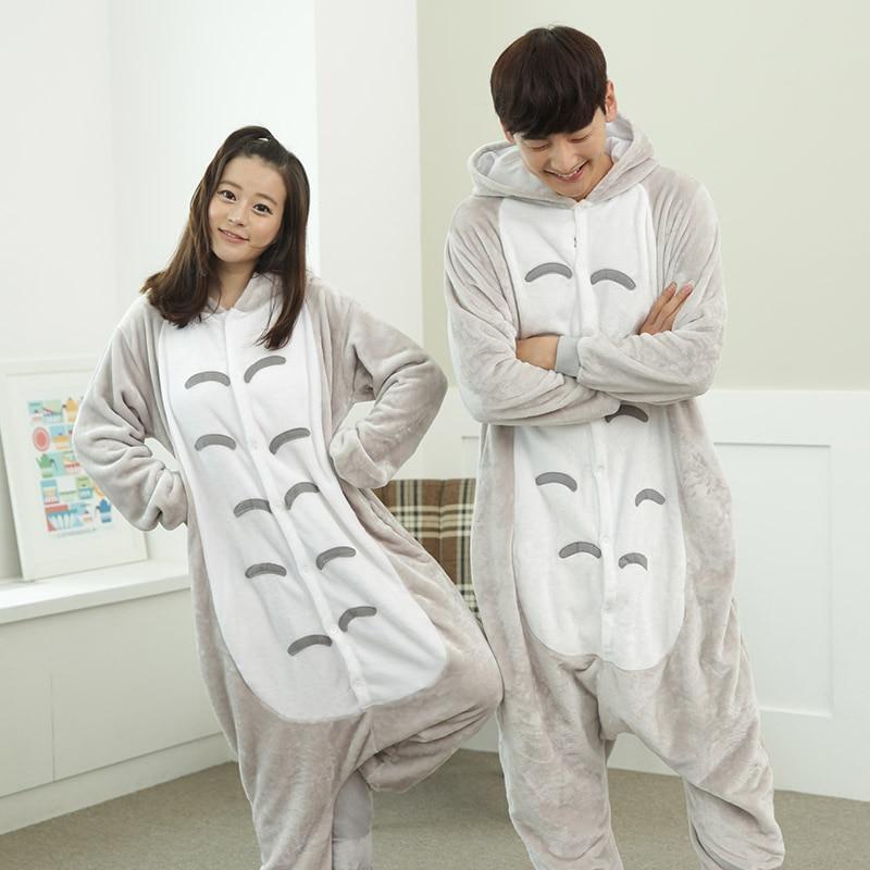 Anime Totoro Cosplay Costumes Unisex Adult Animal Flannel Winter Women Men Nightwear Totoro Onesie Pajamas Halloween