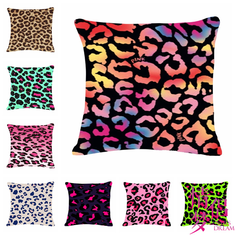 Colourful Leopard Series One Side Printing Home Decor Sofa Car Seat  Decorative Cushion Cover Pillow Case